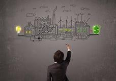 Geschäftsmann, der Fabrik betrachtet, die Geld von den Ideen verdient Lizenzfreie Stockfotos