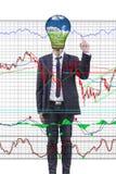Geschäftsmann, der Finanzdiagramm drückt. vektor abbildung