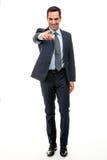 Geschäftsmann, der Finger lächelt und zeigt Stockbilder