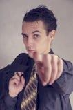 Geschäftsmann, der Finger zeigt Lizenzfreies Stockfoto