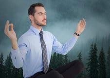 Geschäftsmann, der gegen nebelige Bäume meditiert stockfotos