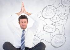 Geschäftsmann, der gegen weiße Wand mit Konzeptgekritzel meditiert Stockfotografie