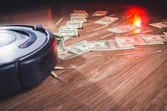 Geschäftsmann, der Geld mit einem Hufeisenmagnetkonzept für Geschäftserfolg, Strategie oder Habsucht anzieht stockfotografie
