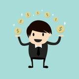 Geschäftsmann, der Geld verdient Stockbild