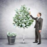 Geschäftsmann, der Geld vom Baum sammelt Stockbild