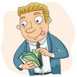 Geschäftsmann, der Geld zählt Lizenzfreie Stockbilder