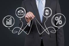 Geschäftsmann, der Geschäftssymbole hält Lizenzfreies Stockfoto