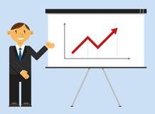 Geschäftsmann, der Geschäftswachstumstabelle vorlegt Stockbild