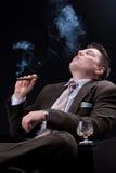 Geschäftsmann, der Getränke und Zigarren genießt Stockbilder