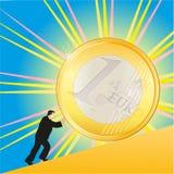 Geschäftsmann, der glänzende Euromünze drückt Stockbild