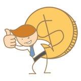 Geschäftsmann, der große Dollarmünze trägt Stockfotografie