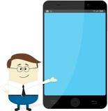 Geschäftsmann, der großen Smartphone zeigt Stockbild