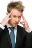 Geschäftsmann, der Hände auf Kopf setzt stockfotografie