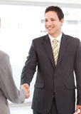 Geschäftsmann, der Hände mit einer Geschäftsfrau rüttelt Lizenzfreie Stockfotos