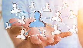 Geschäftsmann, der Hand gezeichnetes Soziales Netz hält Lizenzfreie Stockfotos