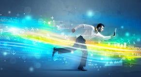 Geschäftsmann, der in High-Teches Wellenkonzept läuft Stockfotografie