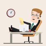 Geschäftsmann, der im Büro, Vektorillustration, flache Art arbeitet Geschäftskonzept-Karikaturillustration Lizenzfreies Stockbild