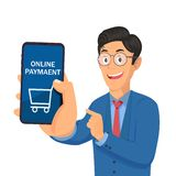 Geschäftsmann, der intelligentes Telefon hält und Schirm mit Online-Zahlung zeigt stockfoto