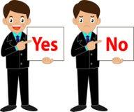 Geschäftsmann, der ja halten oder kein Zeichen Lizenzfreies Stockbild
