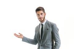 Geschäftsmann, der jemand begrüßt Lizenzfreies Stockfoto