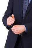 Geschäftsmann, der Köpfe oder Endstücke herstellt. Lizenzfreie Stockfotografie