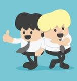 Geschäftsmann der Karikatur-zwei, der an der Show überzeugt sich lehnt Lizenzfreies Stockbild