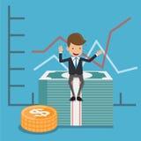 Geschäftsmann in der Klage Sit On Money und im Diagramm-Hintergrund Konzeptgeschäftsvektor-Illustration flache Art stock abbildung