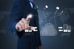 Geschäftsmann, der Konzept der Wolkendatenverarbeitung zeigt Lizenzfreies Stockfoto