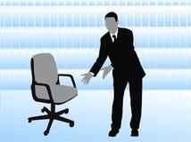 Geschäftsmann, der leeren Stuhl anbietet Stockfoto