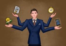 Geschäftsmann, der mehrfache Tätigkeiten jongliert stockfotos