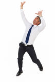 Geschäftsmann, der mit den Armen oben schreit Lizenzfreies Stockbild