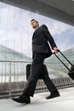 Geschäftsmann, der mit Taschen- und Laufkatzenreise geht Stockfoto