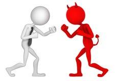 Geschäftsmann, der mit Teufel kämpft Lizenzfreie Stockbilder