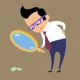 Geschäftsmann, der nach Geld in der Lupe sucht Stockbilder