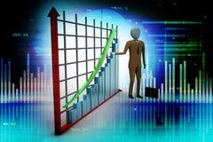 Geschäftsmann, der nahe einem Finanzdiagramm steht Stockbilder