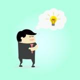 Geschäftsmann, der neue Idee denkt Stockfotos