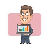 Geschäftsmann, der Notizbuch und das Lächeln hält Lizenzfreie Stockfotografie