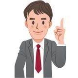 Geschäftsmann, der oben mit dem Zeigefinger zeigt Lizenzfreies Stockfoto