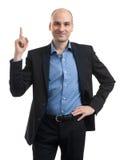 Geschäftsmann, der oben zeigt stockbilder