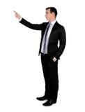 Geschäftsmann, der oben zeigt Stockfotografie