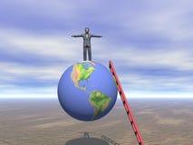 Geschäftsmann der Oberseite der Welt Stockbild