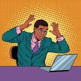 Geschäftsmann in der Panik, Notizbuch lesend lizenzfreie abbildung