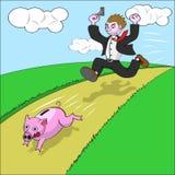 Geschäftsmann, der piggy Querneigung jagt Stockbild