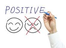 Geschäftsmann, der positives Konzept zeichnet stockbild