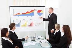 Geschäftsmann, der Projekt Kollegen erklärt Lizenzfreies Stockfoto