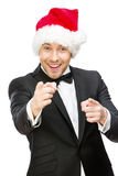 Geschäftsmann, der Santa Claus-Kappe trägt lizenzfreie stockbilder