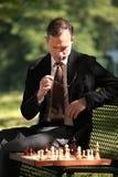 Geschäftsmann, der Schach spielt Stockbild