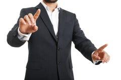 Geschäftsmann, der Schirm drückt Lizenzfreies Stockfoto