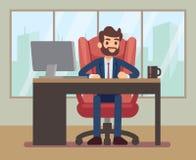 Geschäftsmann, der am Schreibtisch mit Laptop an Planungs- und Führungsstab Arbeitsplatz arbeitet stock abbildung