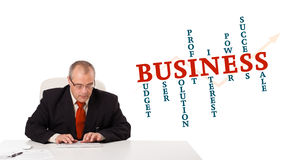 Geschäftsmann, der am Schreibtisch sitzt und auf Tastatur mit Wort Clo schreibt Lizenzfreie Stockbilder